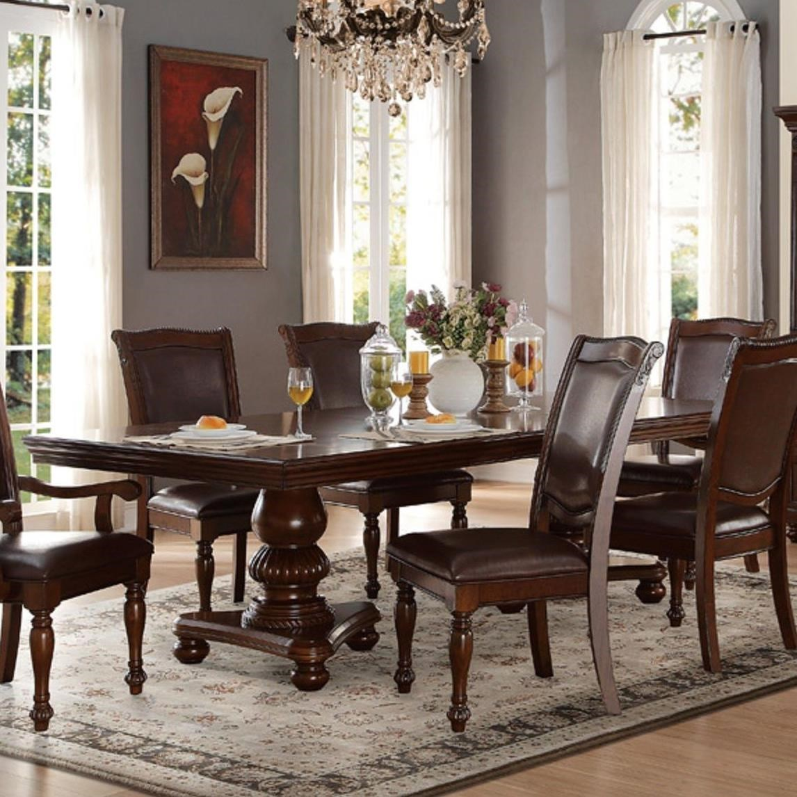 Lordsburg Double Pedestal Dining Table by Homelegance at Darvin Furniture