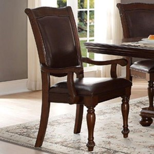 Traditional Dining Arm Chair with Upholstered Seat