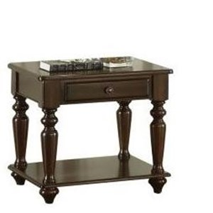 Traditional End Table with Storage Drawer
