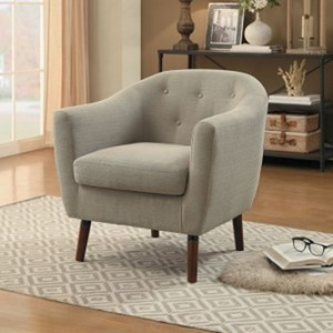 Mid-Century Modern Accent Chair with Tufted Seatback