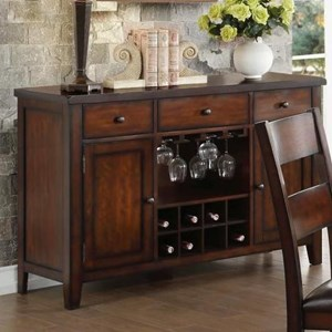 Transitional Server with Wine Bottle and Glass Storage