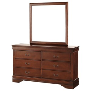 Traditional Six Drawer Dresser and Mirror Set