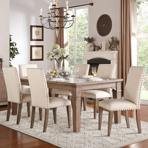 Relaxed Vintage Dining Table and Chair Set with Nailhead Trim on Chairs
