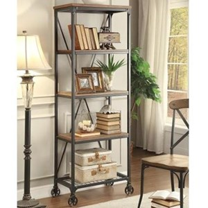 Industrial Rustic Bookshelf with Casters