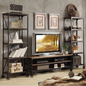 Industrial Rustic Entertainment Unit with Casters