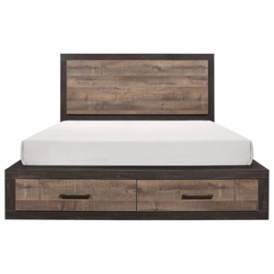 Contemporary Queen Platform Bed with Footboard Storage