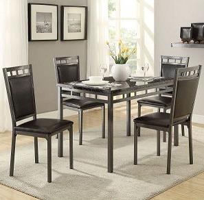 5 Piece Metal Frame Dinette Set with Faux Marble Top