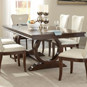 Transitional Dining Table with Pedestal Base
