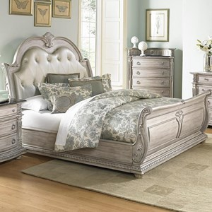 Traditional Queen Sleigh Bed with Upholstered Headboard