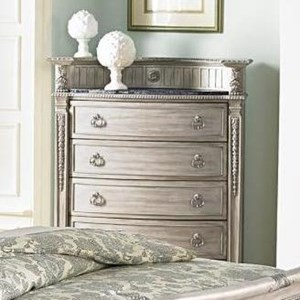 Traditional Five Drawer Chest with Marble Top