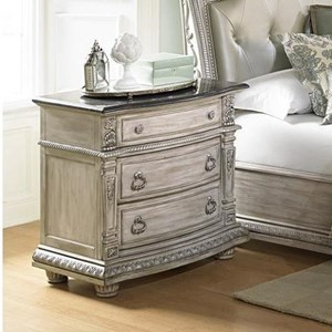 Traditional Night Stand with Marble Top