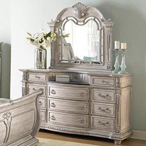 Traditional Dresser and Mirror Set with Marble Inset