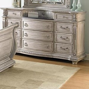 Traditional Eleven Dresser with Marble Inset