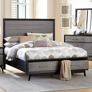 Contemporary Queen Storage Bed with 2-Footboard Drawers