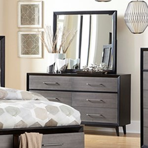 Contemporary Dresser and Mirror Combo