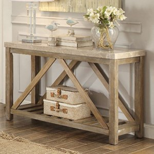 Relaxed Vintage Sofa Table with White Marble Top