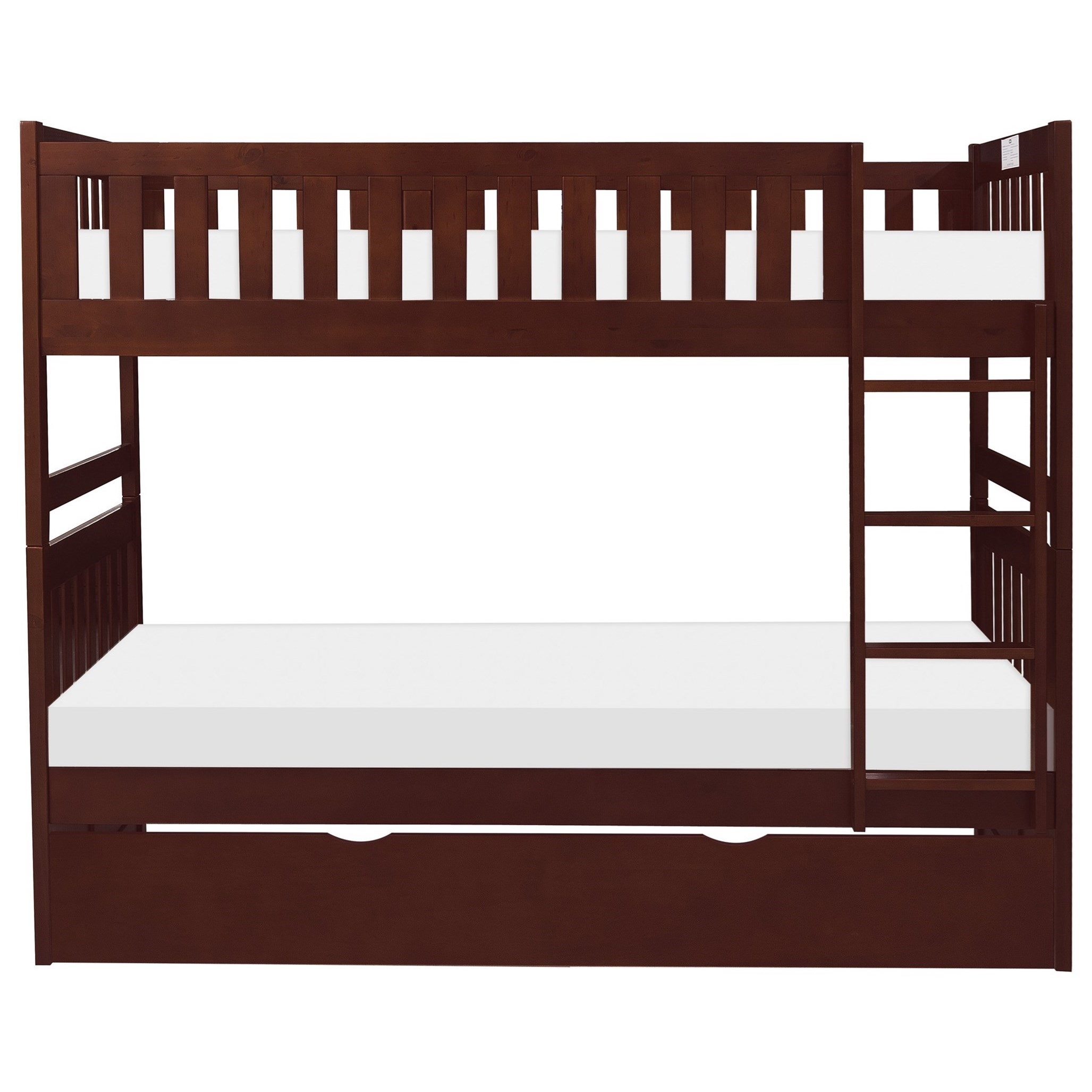 Cherry Twin Over Twin Trundle Bunk Bed by Home Style at Walker's Furniture