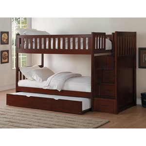 Twin Over Twin Trundle Bunk Bed With Step Storage
