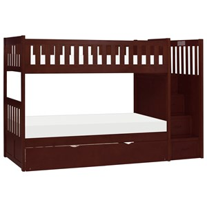 Casual Twin Over Twin Bunk Bed with Trundle and Reversible Step Storage