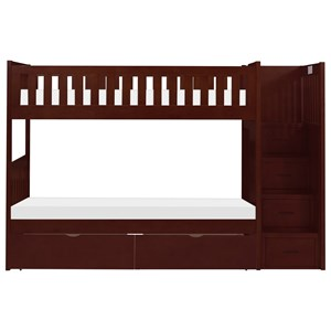 Casual Twin Over Twin Bunk Bed With Reversible Step Storage and Underbed Storage