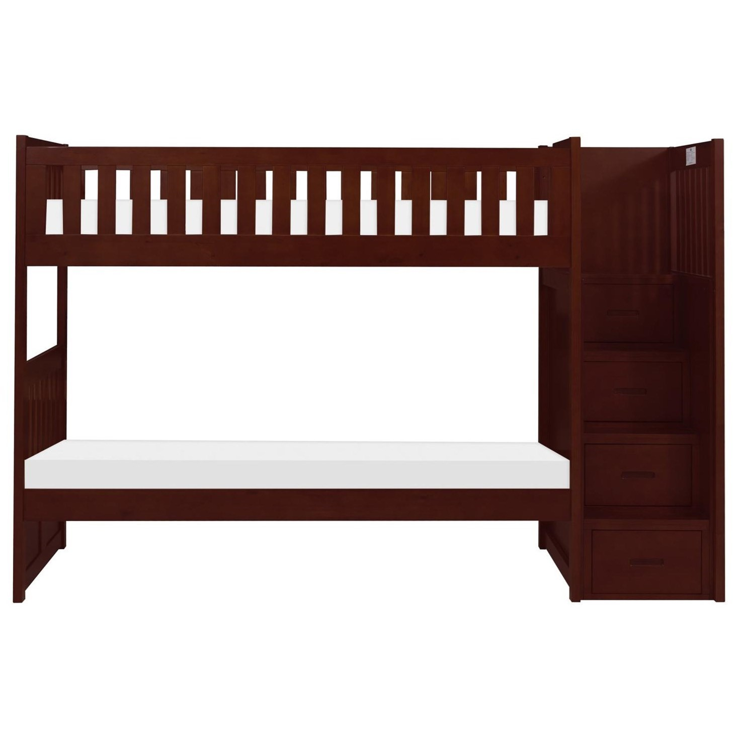 Cherry Twin Over Twin Bunk Bed w/ Stair Storage by Home Style at Walker's Furniture