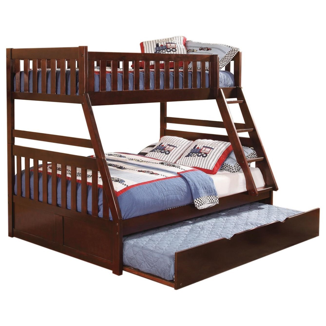 Cherry Twin Over Full Trundle Bunk Bed by Home Style at Walker's Furniture