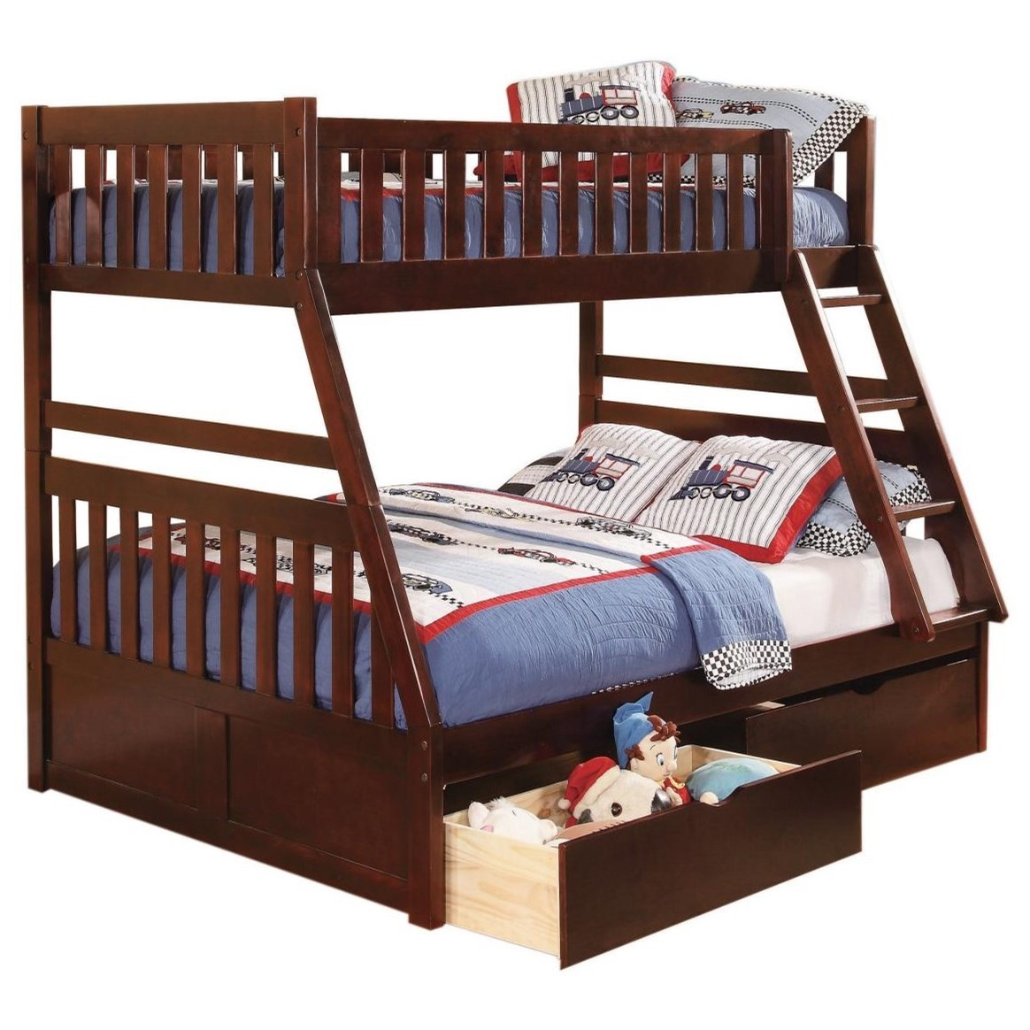 Cherry Twin Over Full Storage Bunk Bed by Home Style at Walker's Furniture