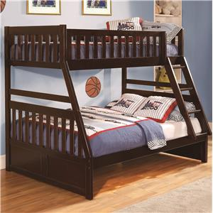 Twin Over Full Bunk Bed with Slats