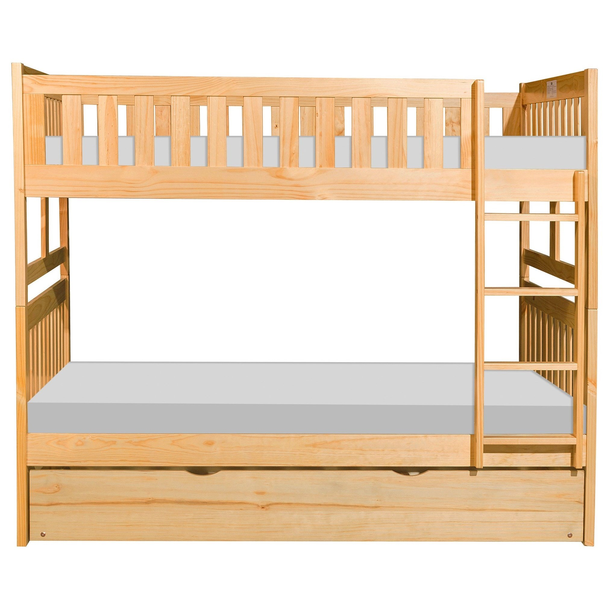 Natural Full Over Full Trundle Bunk Bed by Home Style at Walker's Furniture