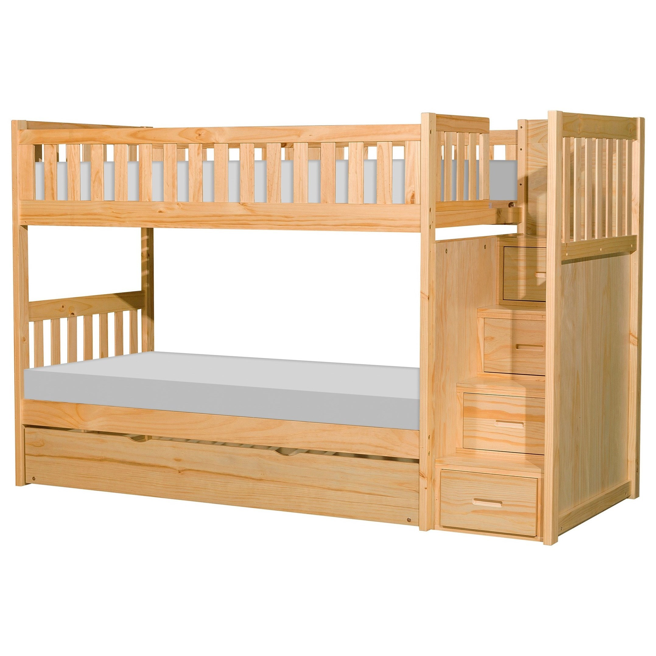 Natural Twin Over Twin Trundle Bunk Bed by Home Style at Walker's Furniture