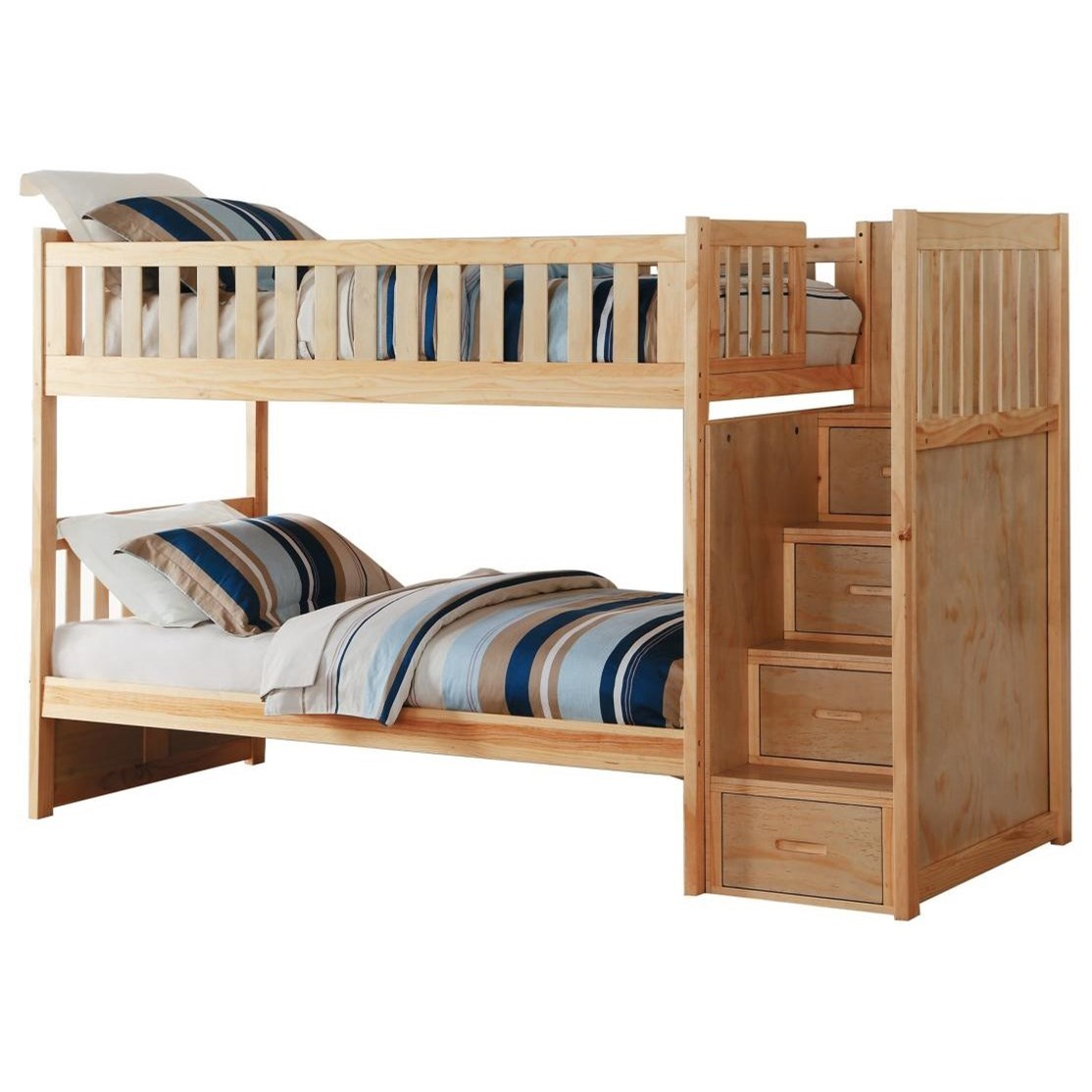 Natural Twin Over Twin Bunk Bed w/ Stair Storage by Home Style at Walker's Furniture