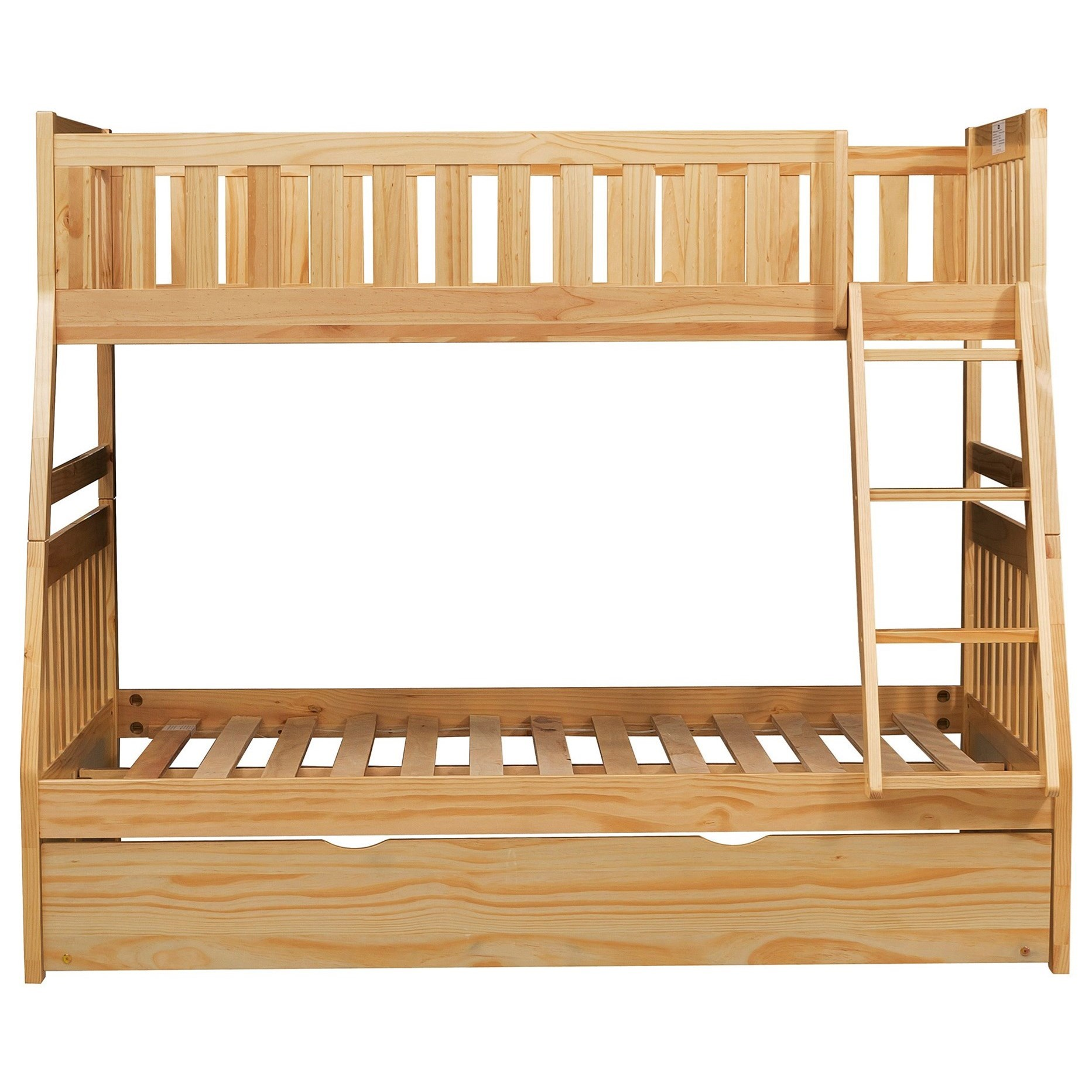 Natural Twin Over Full Trundle Bunk Bed by Home Style at Walker's Furniture