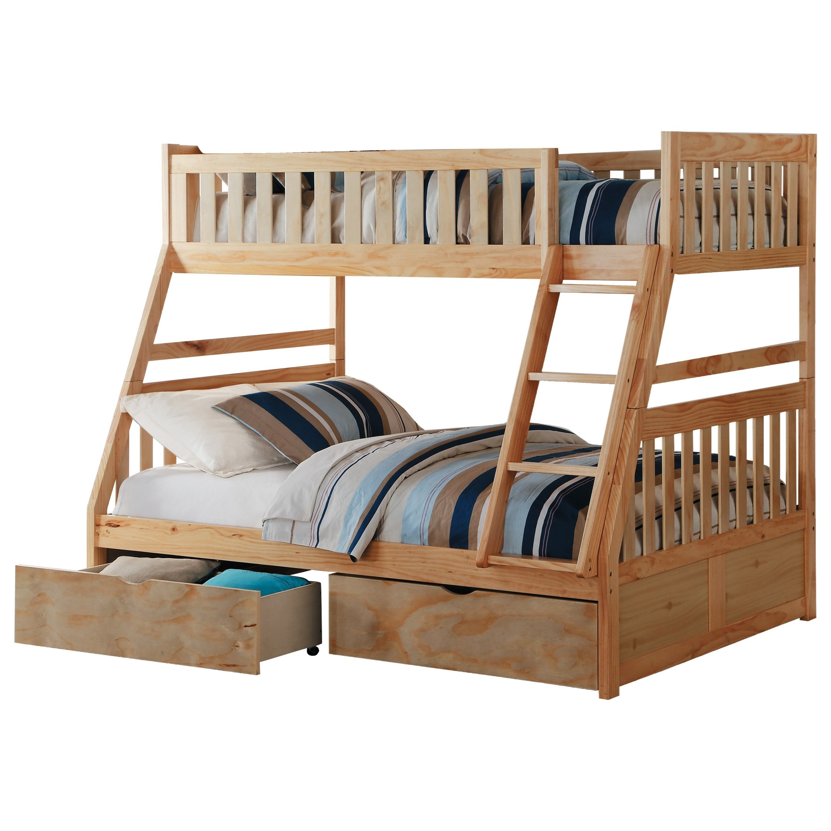 Natural Twin Over Full Storage Bunk Bed by Home Style at Walker's Furniture