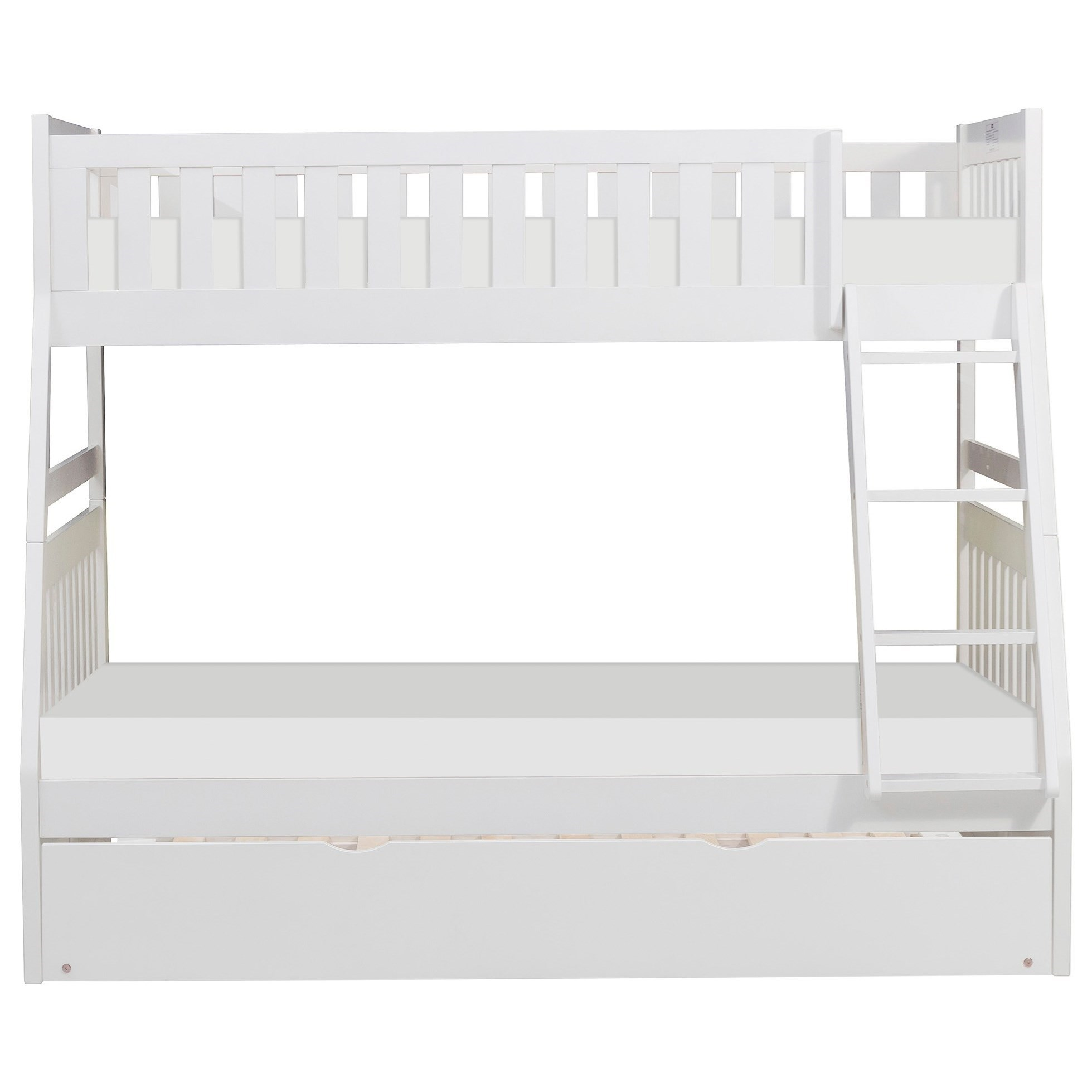 White Twin Over Full Trundle Bunk Bed by Home Style at Walker's Furniture