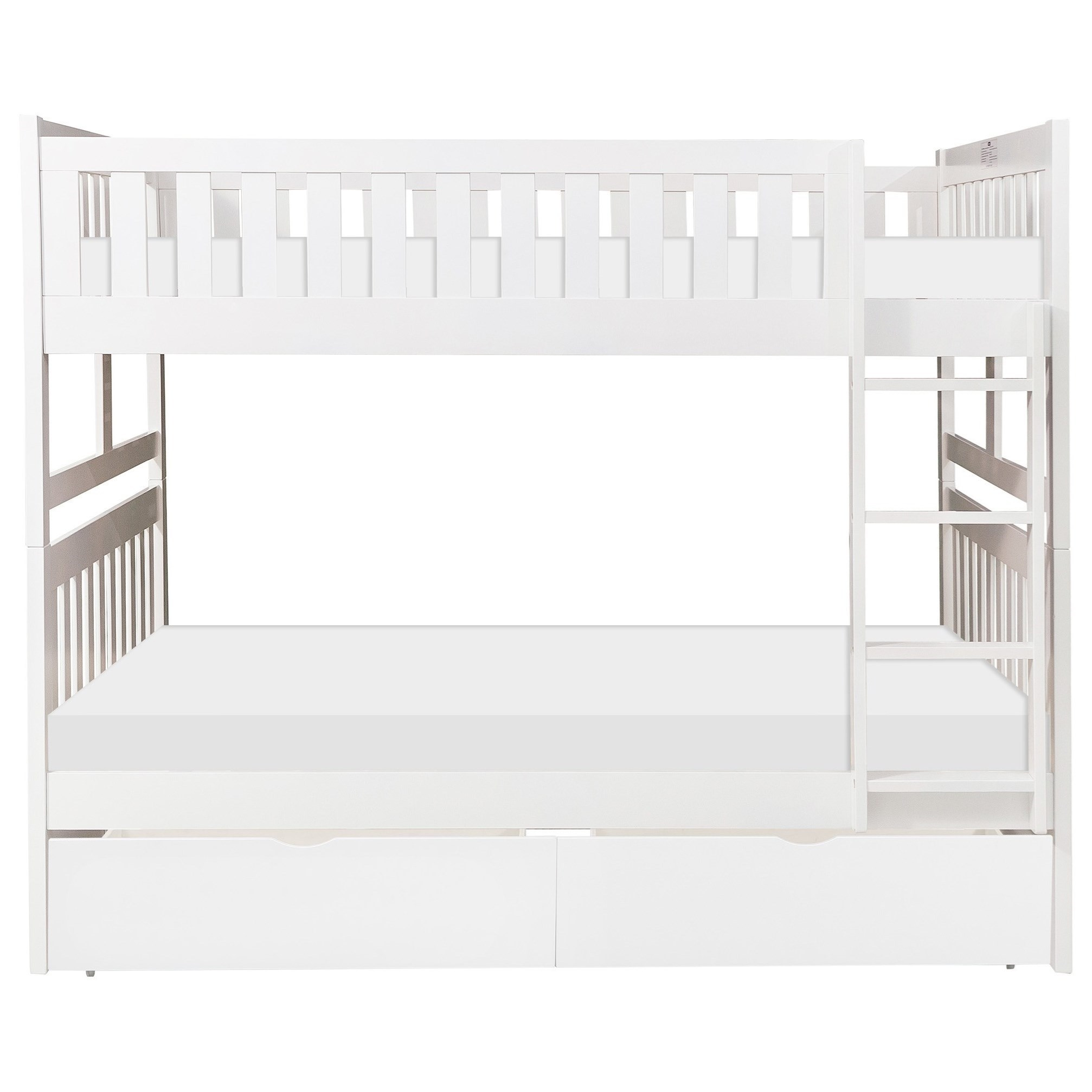 White Full Over Full Storage Bunk Bed by Home Style at Walker's Furniture