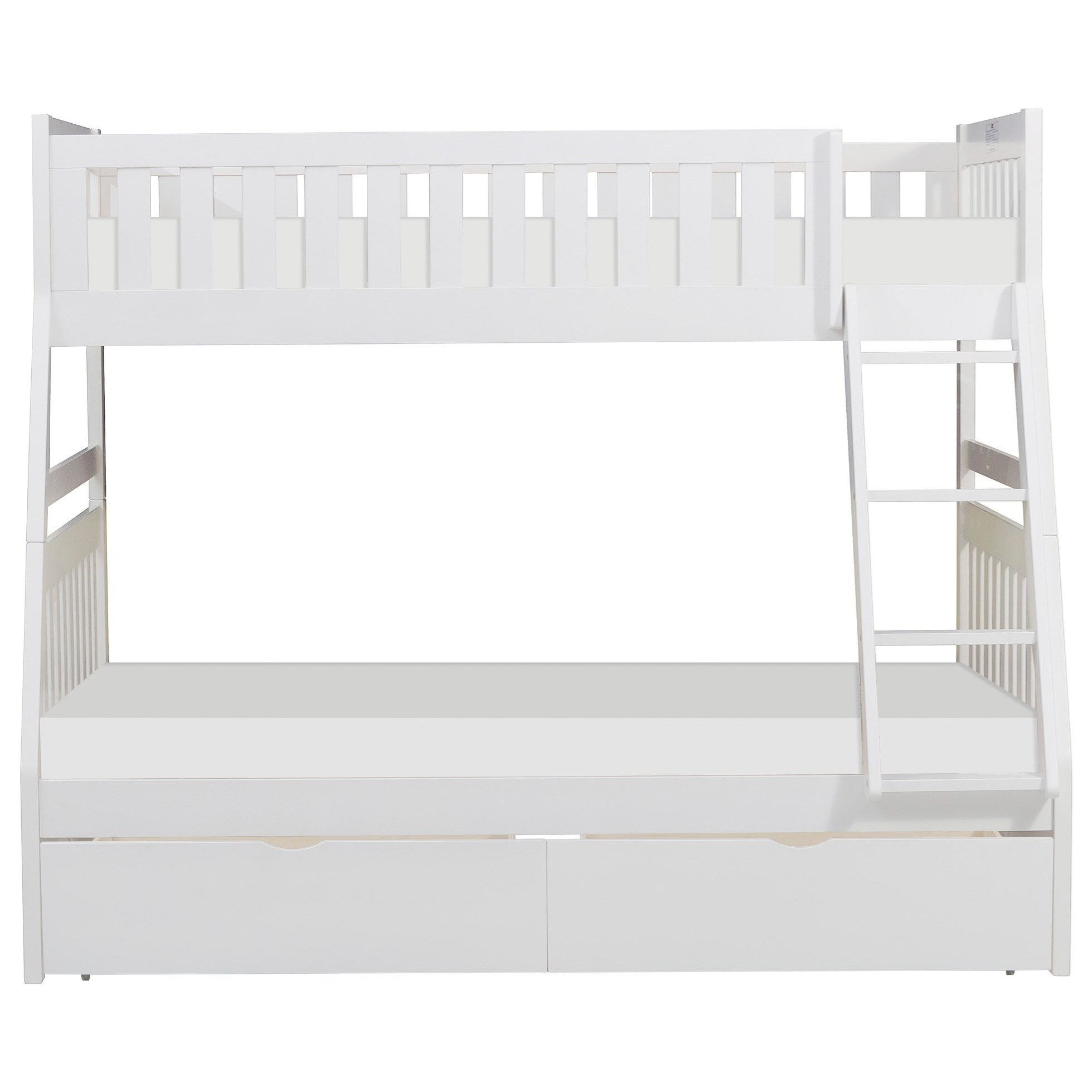 White Twin Over Full Storage Bunk Bed by Home Style at Walker's Furniture