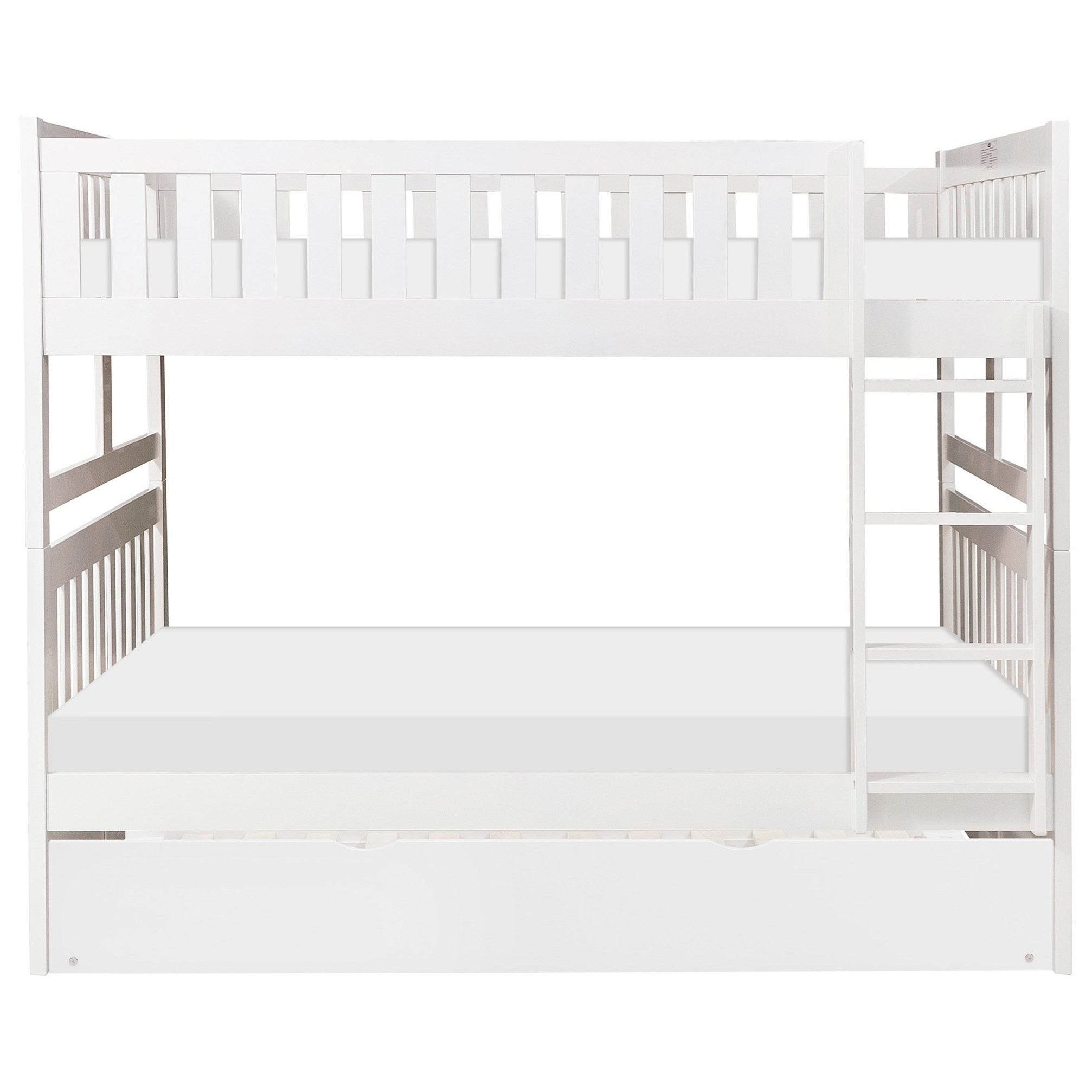 White Twin Over Twin Trundle Bunk Bed by Home Style at Walker's Furniture