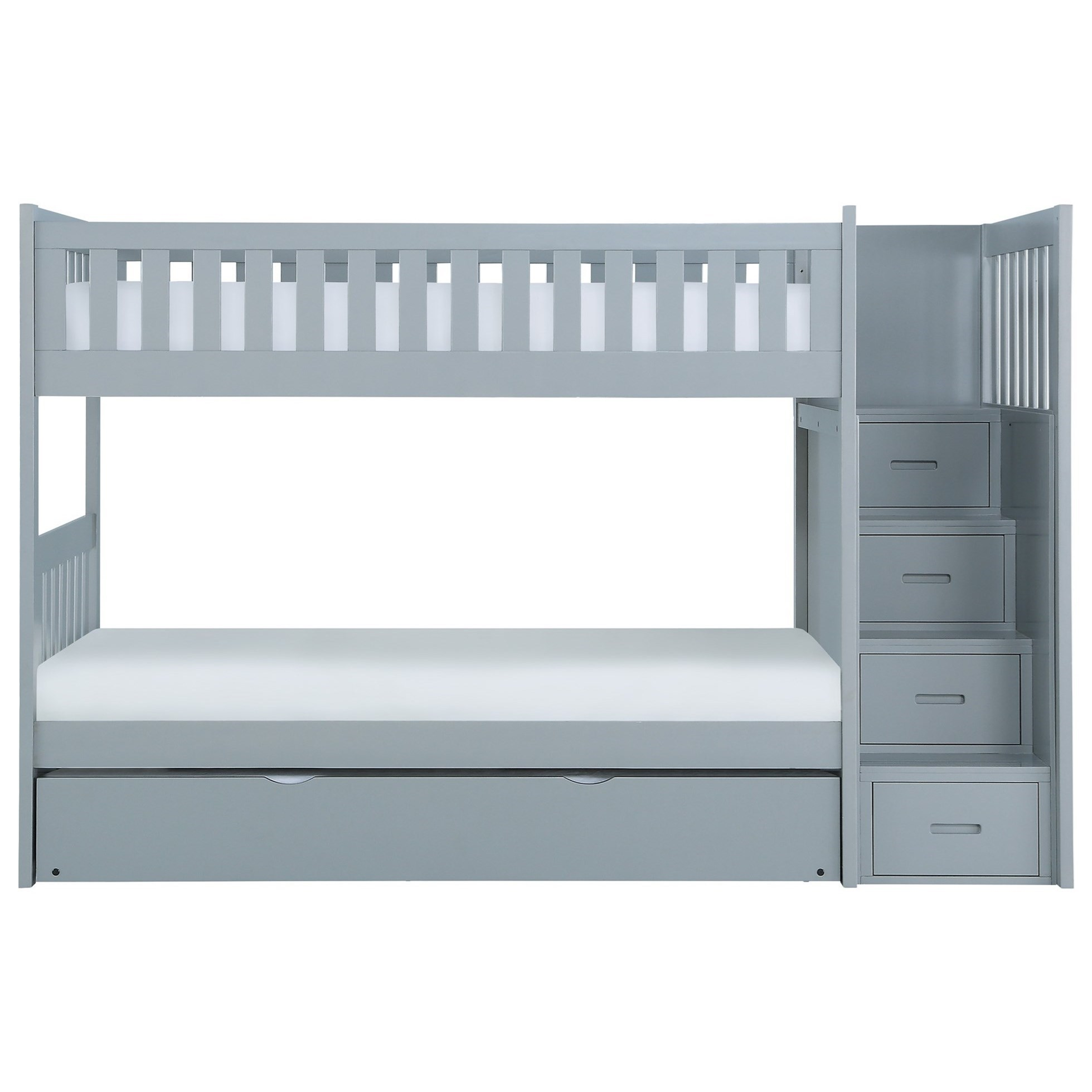 Gray Twin Over Twin Trundle Bunk Bed by Home Style at Walker's Furniture