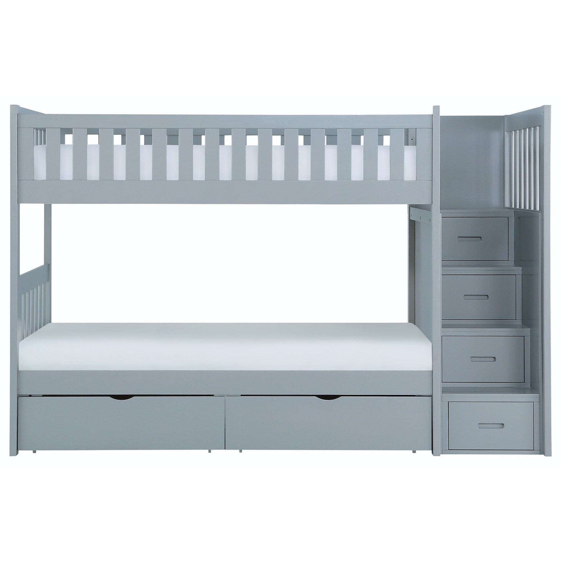 Gray Twin Over Twin Storage Bunk Bed by Home Style at Walker's Furniture
