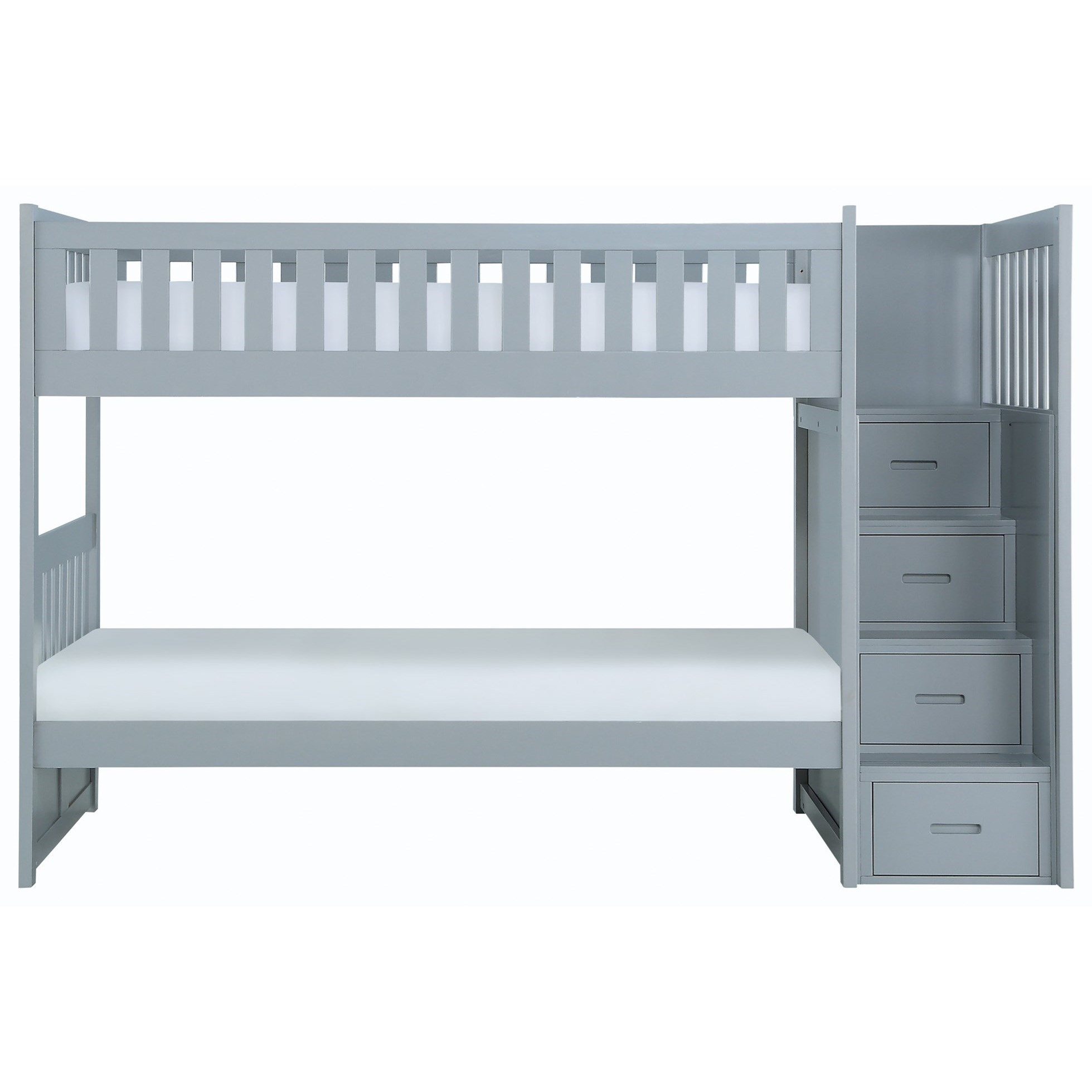 Gray Twin Over Twin Bunk Bed w/ Stair Storage by Home Style at Walker's Furniture