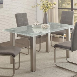 Contemporary Dining Table with Crackle Glass Top