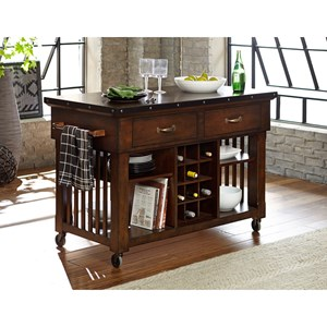Industrial Kitchen Island Cart with Metal Trim and Decorative Nail Heads