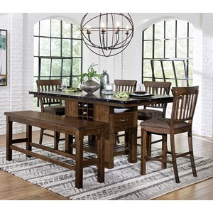 Industrial Counter Height Table & Chair Set with Bench