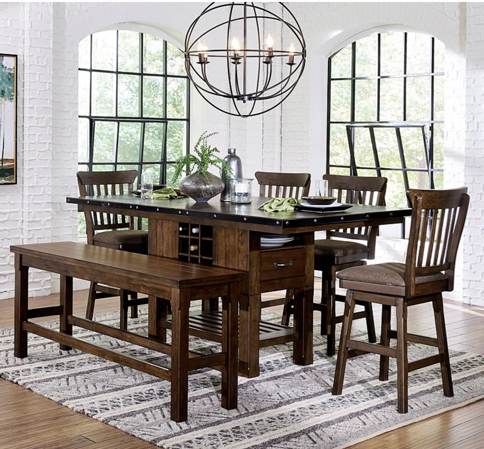 Schleiger Table and Chair Set with Bench by Homelegance at Lindy's Furniture Company