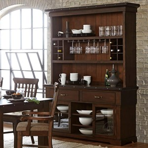 Industrial Dining Buffet and Hutch with Exposed Rivets and Built-In Wine Storage