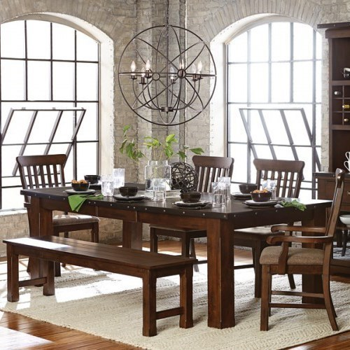 Schleiger Table and Chair Set with Bench by Homelegance at A1 Furniture & Mattress