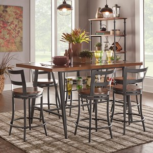 Contemporary Counter Height Table and Chair Set with Built-In Wine Storage and Glass Insert