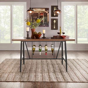 Contemporary Counter Height Table with Built-In Wine Storage and Glass Insert
