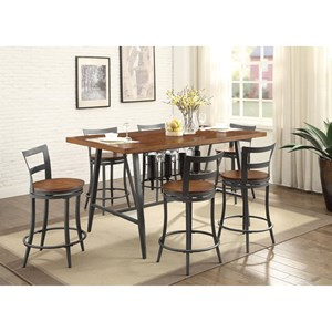 Counter Height Table and Chair Set with Built-In Wine Storage