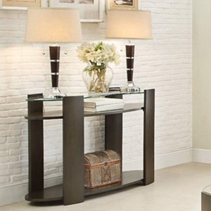Contemporary Sofa Table with Glass Top